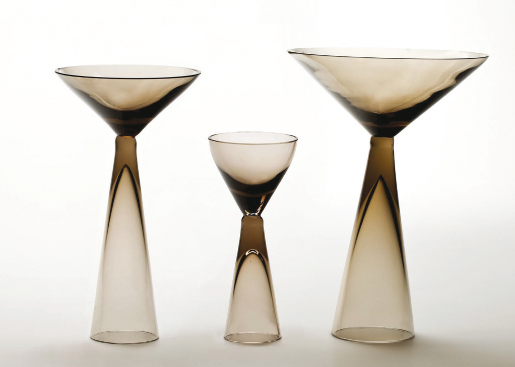 Set of tree glasses, smoke glass.